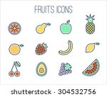 vector collection of fruits ... | Shutterstock .eps vector #304532756