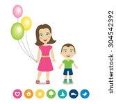 cartoon characters   mother...   Shutterstock .eps vector #304542392