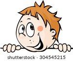 cute child boy peeking out from ... | Shutterstock .eps vector #304545215