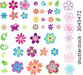 Stock vector lots of flowers vector illustration 3045472