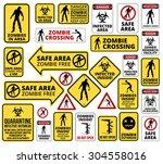funny zombie apocalypse signs ... | Shutterstock .eps vector #304558016