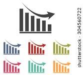 vector declining graph icon set | Shutterstock .eps vector #304560722