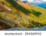 Scenic Stelvio Pass. Italian Mountain Pass Road Scenery.  - stock photo
