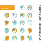 line icons with flat design... | Shutterstock .eps vector #304562858