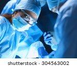 team surgeon at work on... | Shutterstock . vector #304563002