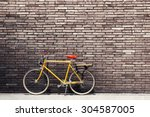 Retro Bicycle On Roadside With...