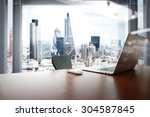 office workplace with laptop... | Shutterstock . vector #304587845