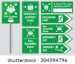 set of emergency exit sign ... | Shutterstock .eps vector #304594796