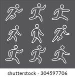 outline figure set of runners.... | Shutterstock .eps vector #304597706