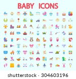 baby icons set. flat vector... | Shutterstock .eps vector #304603196