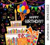 birthday card. celebration... | Shutterstock .eps vector #304610312