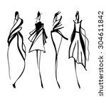 set of black and white fashion... | Shutterstock .eps vector #304611842