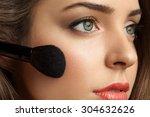 beautiful woman face powders ... | Shutterstock . vector #304632626