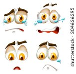facial expression on white... | Shutterstock .eps vector #304636295