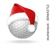 white golf ball and santa red...   Shutterstock .eps vector #304642712