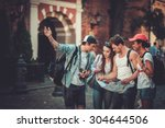 multiracial friends tourists... | Shutterstock . vector #304644506