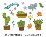 vector nature cartoon freehand... | Shutterstock .eps vector #304651055