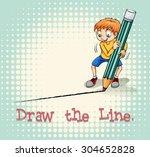 boy drawing a line illustration | Shutterstock .eps vector #304652828