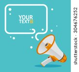 megaphone text bubble card with ... | Shutterstock .eps vector #304676252