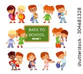 back to school.big set of cute... | Shutterstock .eps vector #304681328