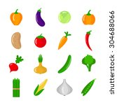 set of vegetables. flat vector... | Shutterstock .eps vector #304688066