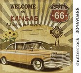 Welcome To Kansas Retro Poster.