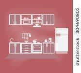 kitchen interior concept ... | Shutterstock .eps vector #304690802