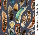 watercolor colorful feather... | Shutterstock . vector #304694126