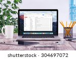 office workplace with open... | Shutterstock . vector #304697072