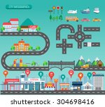 city infographics background... | Shutterstock .eps vector #304698416