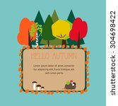 banner with an autumn in the... | Shutterstock .eps vector #304698422