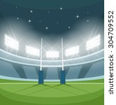 rugby stadium with lights at... | Shutterstock .eps vector #304709552