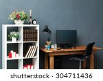 modern workplace with computer | Shutterstock . vector #304711436