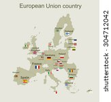 the european union map with... | Shutterstock .eps vector #304712042