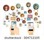 global social network abstract...   Shutterstock .eps vector #304712105
