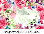 watercolor garden and wild red... | Shutterstock . vector #304732322