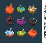 Isometric 3d Islands Mountains...