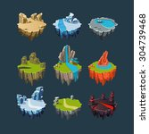 isometric 3d islands mountains... | Shutterstock .eps vector #304739468