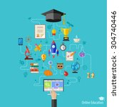 online education concept with... | Shutterstock . vector #304740446
