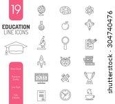 online education thin lines web ... | Shutterstock . vector #304740476