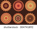set of 6 mandalas. hand drawn...   Shutterstock .eps vector #304741892