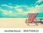beach chair on white sand beach ... | Shutterstock . vector #304743422
