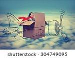 happy attractive young aviator...   Shutterstock . vector #304749095