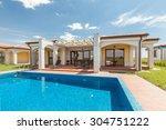 swimming pool outside luxury... | Shutterstock . vector #304751222