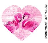 watercolor flamingos   Shutterstock .eps vector #304751852