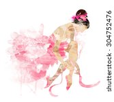watercolor ballerina in a pink... | Shutterstock .eps vector #304752476