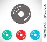 vinyl record turntable icon....   Shutterstock .eps vector #304767965