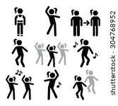 aerobics  fitness workout or... | Shutterstock .eps vector #304768952