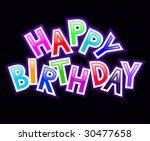 happy birthday 3d balck... | Shutterstock .eps vector #30477658