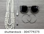 Small photo of Women accessories and essentials, Still life of fashion. Vintage dressing concept set.